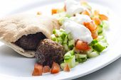 picture of meatball  - meatball in pan pita with tomato and cucumber salad - JPG