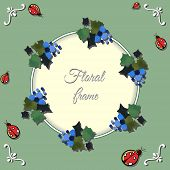 image of ladybug  - Frame made from watercolor grape and hand drawn red ladybugs - JPG