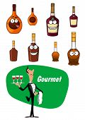 picture of alcoholic beverage  - Elegant wine steward toting a tray with drinks and a collection of alcoholic beverages and liqueurs in bottles with happy faces and text Gourmet - JPG