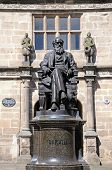 picture of darwin  - Statue of Charles Darwin outside Castle Gate Library Shrewsbury Shropshire England UK Western Europe - JPG