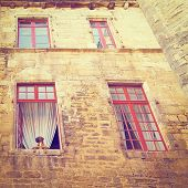 pic of stone house  - Dog in the Window of Old Stone French House Vintage Style Toned Picture - JPG