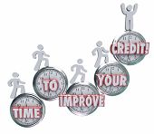 stock photo of borrower  - Time to Improve Your Credit words on clocks to illustrate the need to work on repairing - JPG