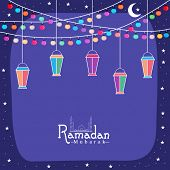 image of ramadan mubarak card  - Creative greeting card design with colorful lanterns and lights for holy month of Muslim community - JPG