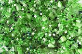 stock photo of beads  - Green crystal beads closeup as a background - JPG