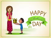 image of occasion  - Cute little boy giving a gift box to his mother on occasion of Happy Mother - JPG