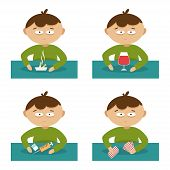 foto of  habits  - Set of vector illustration on the theme of bad habits - JPG