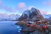 stock photo of reining  - Reine is a beautiful fishing village in Lofoten Islands - JPG