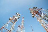 foto of antenna  - Telecommunication mast TV antennas with blue sky in the morning - JPG