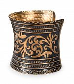 picture of copper  - old vintage bracelet made of copper with a pattern on a white background - JPG