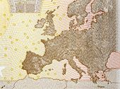 picture of fifties  - Close up of map europe on back of fifty euro banknote - JPG