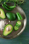 foto of cucumber slice  - Sliced avocado - JPG