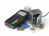 stock photo of plastic money  - Payment terminal with credit card and safe with gold and money - JPG