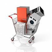 picture of nouns  - Large home appliances with a check in the shopping cart - JPG