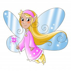 foto of tinkerbell  - Fairy lady flying with a magic wand - JPG