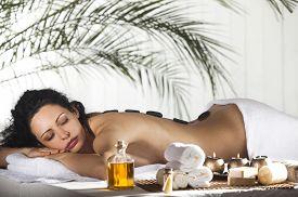 stock photo of stone-therapy  - Spa Stone Massage - JPG