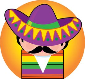 picture of mexican fiesta  - sombrero on a mexican gentleman in mexico - JPG