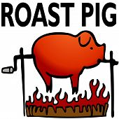 stock photo of spit-roast  - An image of a roasted pig art object - JPG