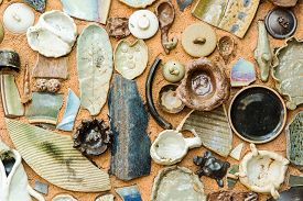 picture of pottery  - Vintage Pottery with texture background of ancient pottery shard - JPG