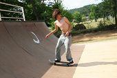 Skateboarder In Action