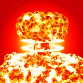 image of nuke  - nuclear bomb blasting flame cloud on red background - JPG
