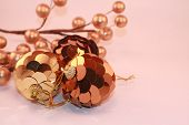 Metallic Gold and Bronze Christmas Ornaments with Berries