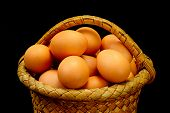 Eggs In A Basket On A Black Background