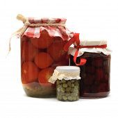 Jar With Preserves. Homemade Strawberry Jam, Pickled Tomatoes And Capers Isolated On White Backgroun