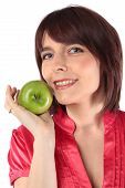 Beautiful Woman With Apple Isolated On White Background
