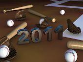 Постер, плакат: Некоторые бейсбол batts шарики и перчатки с 2011 года в центре