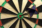 Success Shot! Darts Photo With Arrow In Bullseye