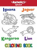 Постер, плакат: Animals alphabet or ABC Coloring book