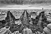 Paris skyline - avenue des Champs-Elysees. View from Arc de Triomphe, Paris, France. Black and white poster