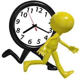 picture of running-late  - A cartoon person runs a race against a time clock on a busy day - JPG