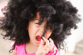 picture of afro hair  - Portrait of the beautiful little asian girl - JPG