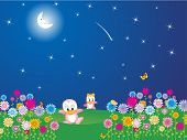 flower garden in the moon light, illustration