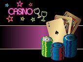 ilustração em vetor de placas e chips no fundo do casino