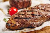 Gourmet Grill Restaurant Steak Menu - New York Beef Steak on Wooden Background. Black Angus Prime Be poster