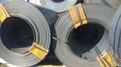 Steel Sheets Rolled Up Into Rolls. Export Steel. Packing Of Stee poster