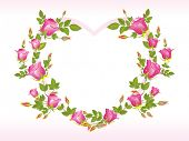 romantic pink rose design heart shape frame