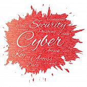 Conceptual cyber security online access technology paint brush word cloud isolated background. Colla poster