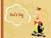 fools day background with artistic design and cartoon