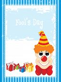 blue border pattern background with cartoon, gift