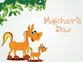 green leaf background with horse illustration on mother day