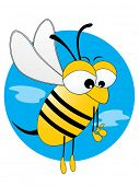 cute honey bee illustration with blue background