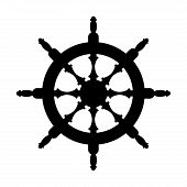 Steering Wheel Silhouette Isolated. Steering Wheel Ship White Background. Witcher Illustration poster
