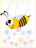 colorful flower background with comic bee