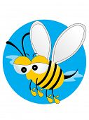 abstract blue background with cute honey bee illustration