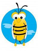 honeybee standing with blue background