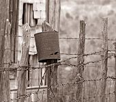 Barbed Wire Fence Antiqued