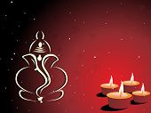 maroon background with set of diya, ganpati